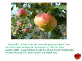 Как и яйцо, яблоко дает бессмертие, здоровье, юность — следовательно, вечную