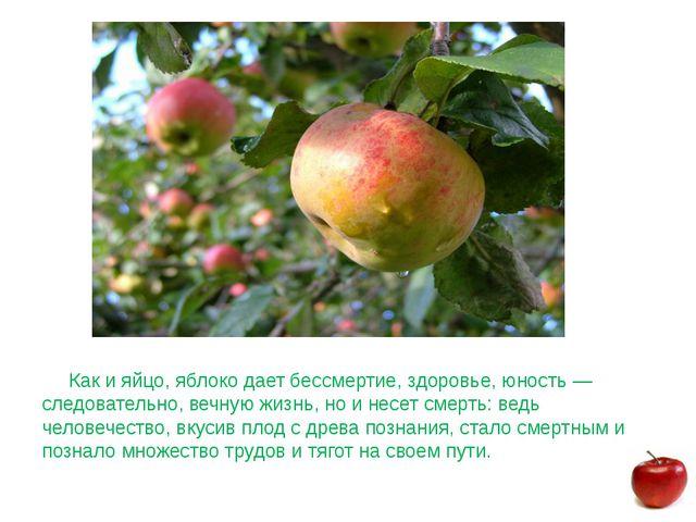 Как и яйцо, яблоко дает бессмертие, здоровье, юность — следовательно, вечную...