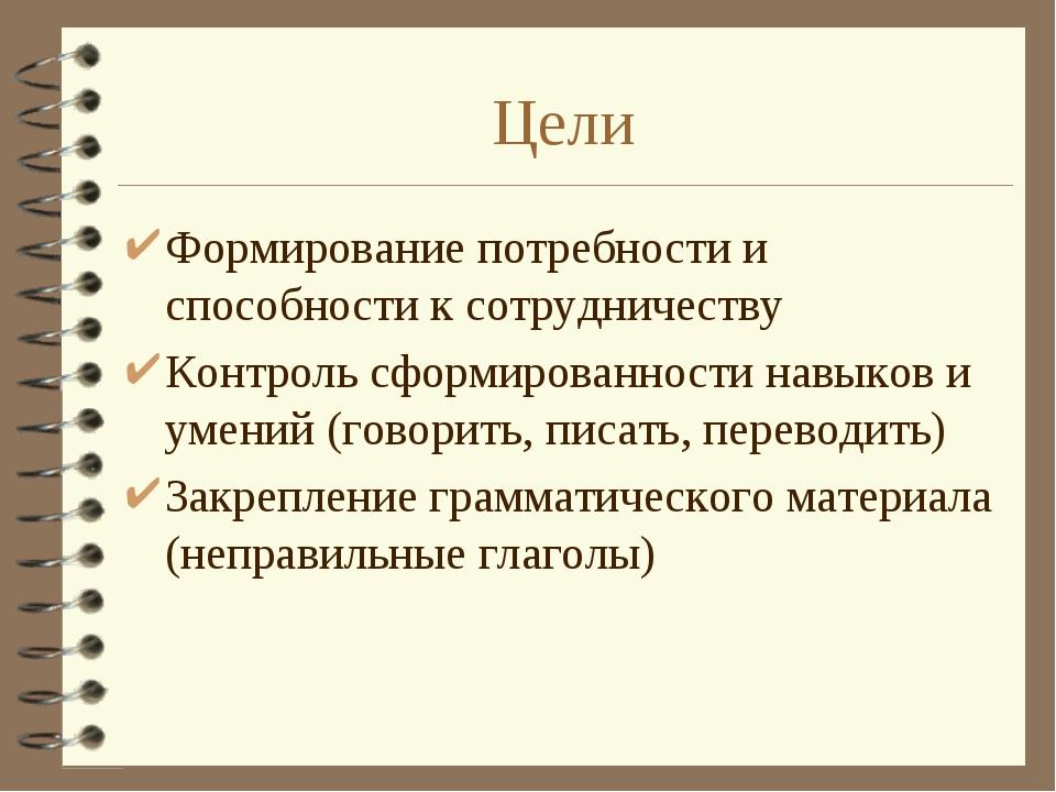 Цели Формирование потребности и способности к сотрудничеству Контроль сформир...