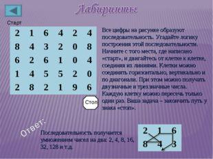 Старт Все цифры на рисунке образуют последовательность. Угадайте логику постр