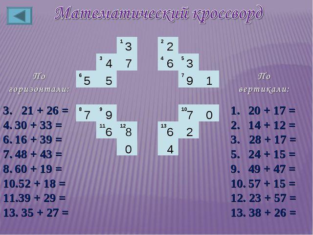 3. 21 + 26 = 30 + 33 = 16 + 39 = 48 + 43 = 60 + 19 = 52 + 18 = 39 + 29 = 13....