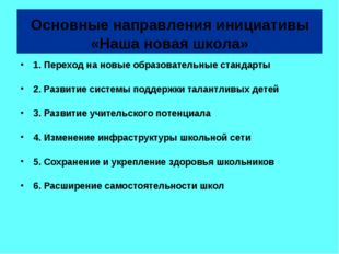 Основные направления инициативы «Наша новая школа» 1. Переход на новые образ