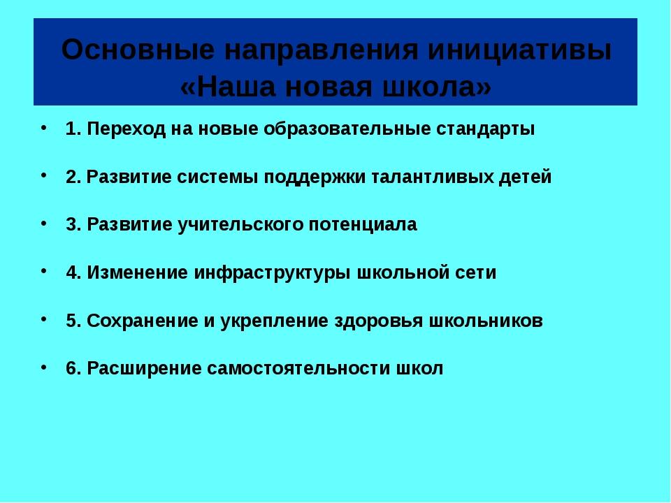 Основные направления инициативы «Наша новая школа» 1. Переход на новые образ...