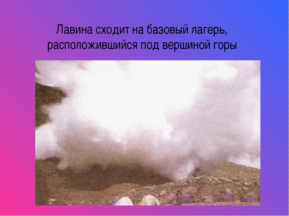 Лавина сходит на базовый лагерь, расположившийся под вершиной горы