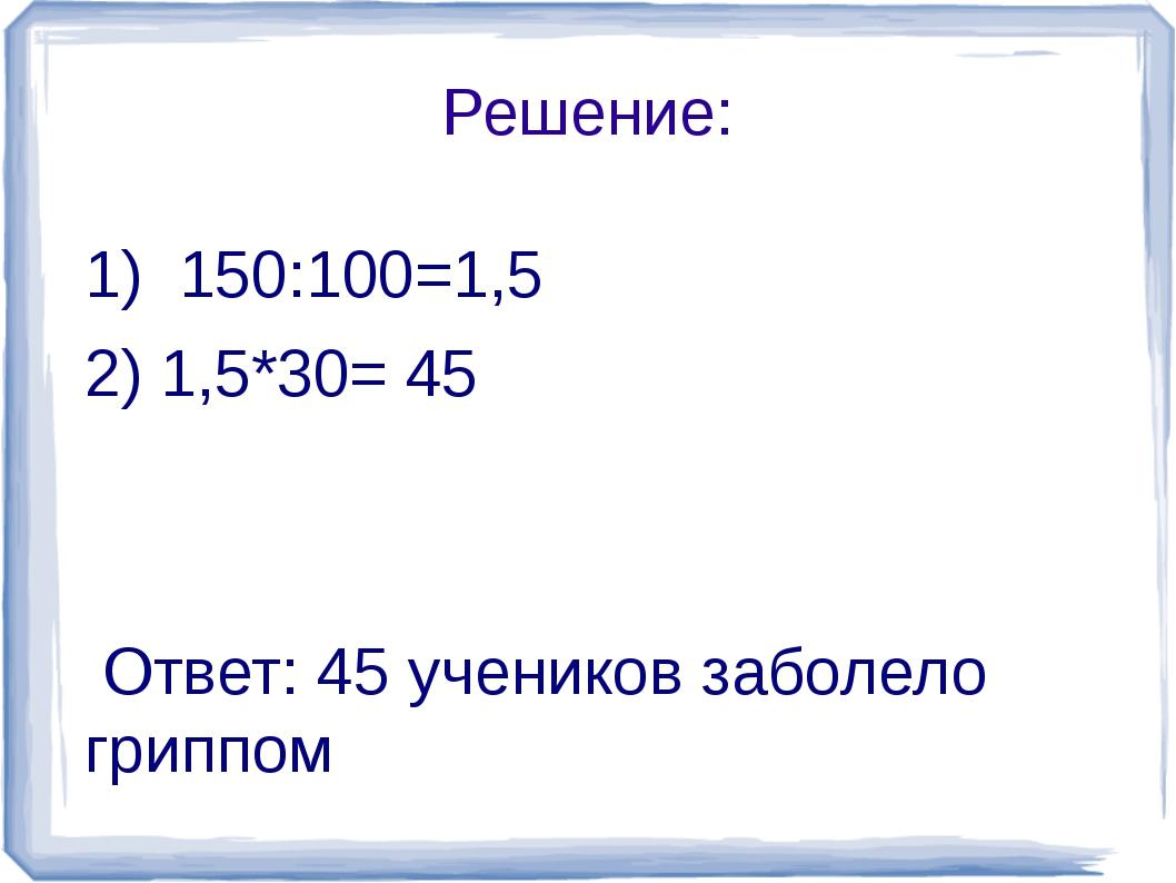 Решение: 1) 150:100=1,5 2) 1,5*30= 45 Ответ: 45 учеников заболело гриппом