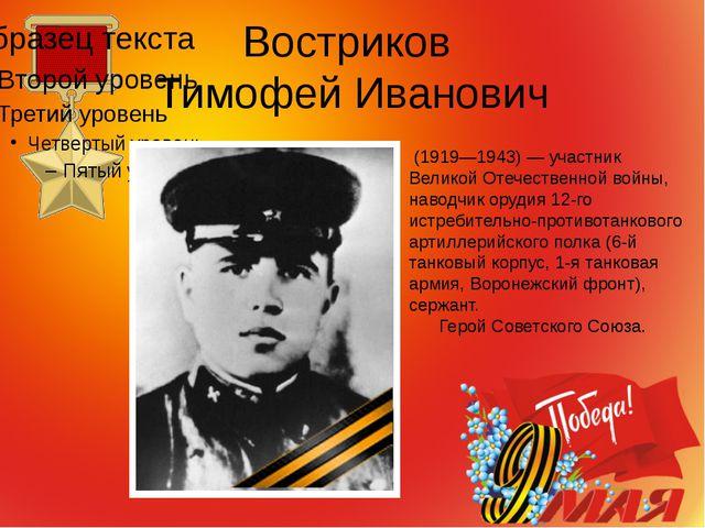 Востриков Тимофей Иванович (1919—1943) — участник Великой Отечественной войны...