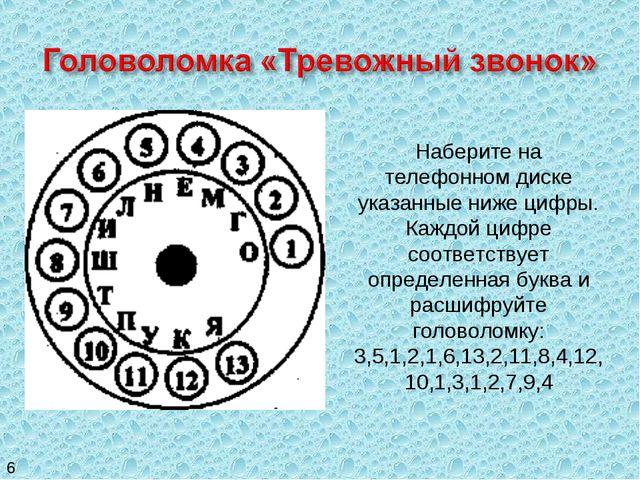Наберите на телефонном диске указанные ниже цифры. Каждой цифре соответствует...