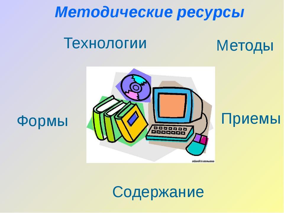 Методические ресурсы Формы Содержание Приемы Технологии Методы
