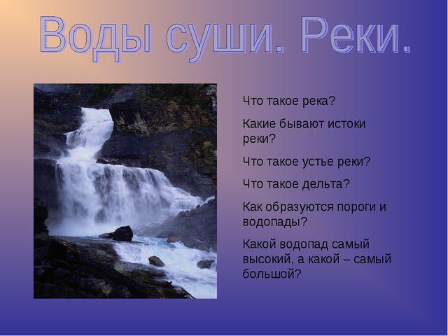 Что такое река? Какие бывают истоки реки? Что такое устье реки? Что такое дел...