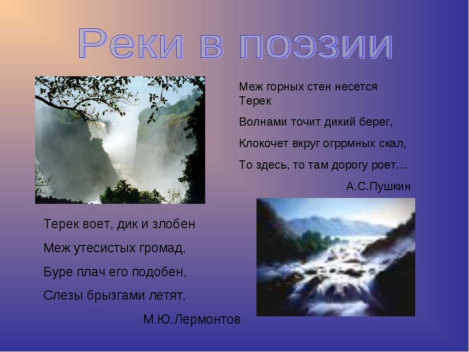 Меж горных стен несется Терек Волнами точит дикий берег, Клокочет вкруг огррм...