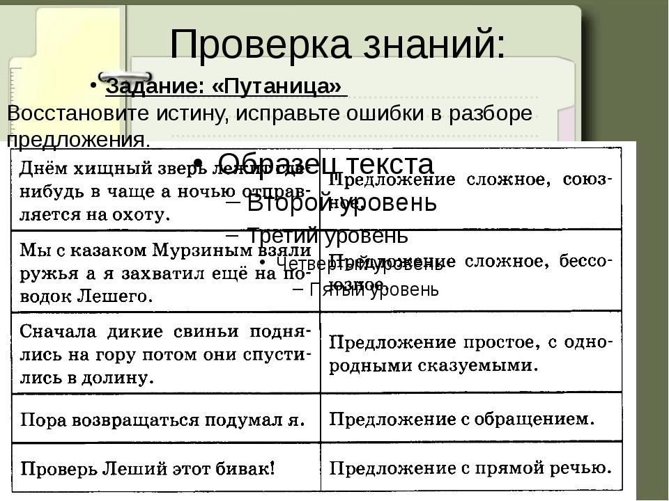 Проверка знаний: Задание: «Путаница» Восстановите истину, исправьте ошибки в...