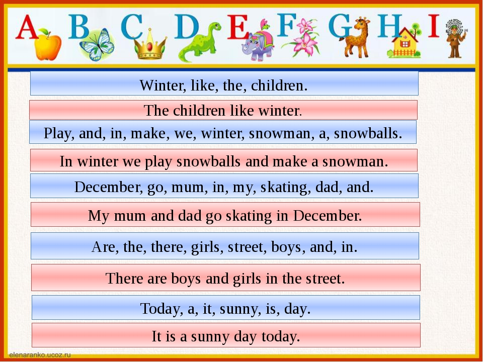 Winter, like, the, children. The children like winter. Play, and, in, make, w...