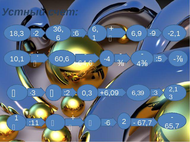 Устный счет: 18,3 36,6 6,1 6,9 -2,1 10,1 60,6 -4 -4⅜ -⅞ ⅕ ⅗ 0,3 6,39 2,13 1⅚...