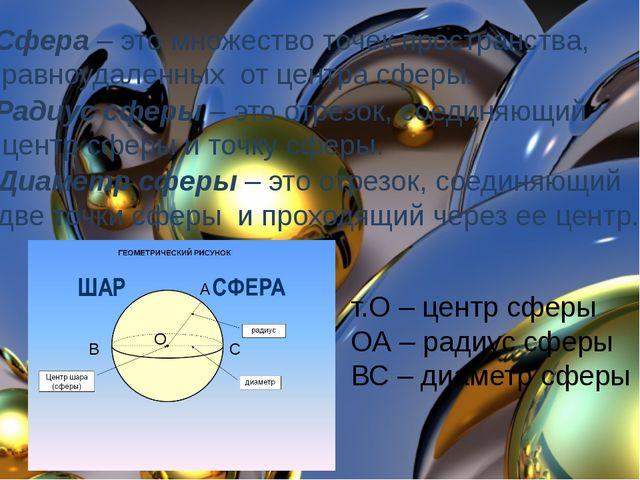 Сфера – это множество точек пространства, равноудаленных от центра сферы. Рад...