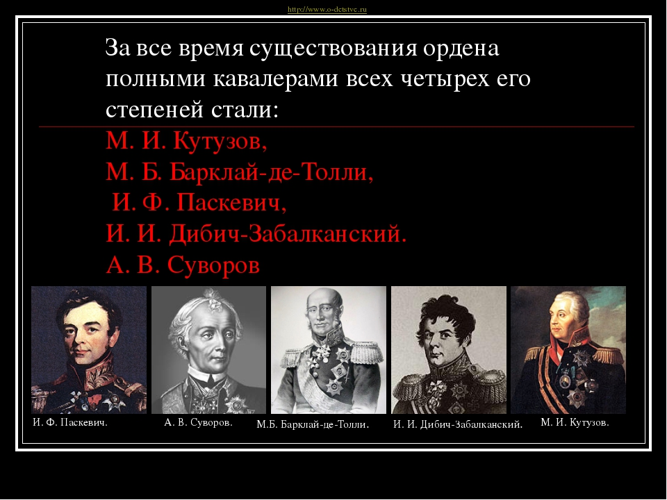 За все время существования ордена полными кавалерами всех четырех его степене...