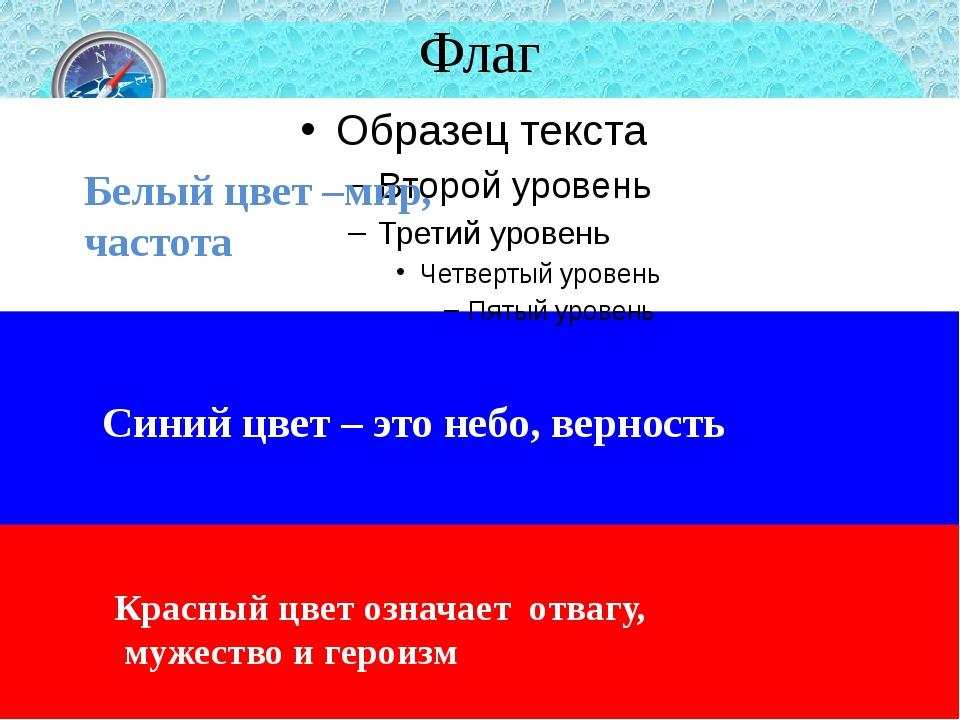 Флаг Белый цвет –мир, частота Синий цвет – это небо, верность Красный цвет оз...