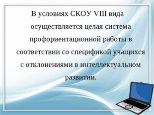 В условиях СКОУ VIII вида осуществляется целая система профориентационной раб