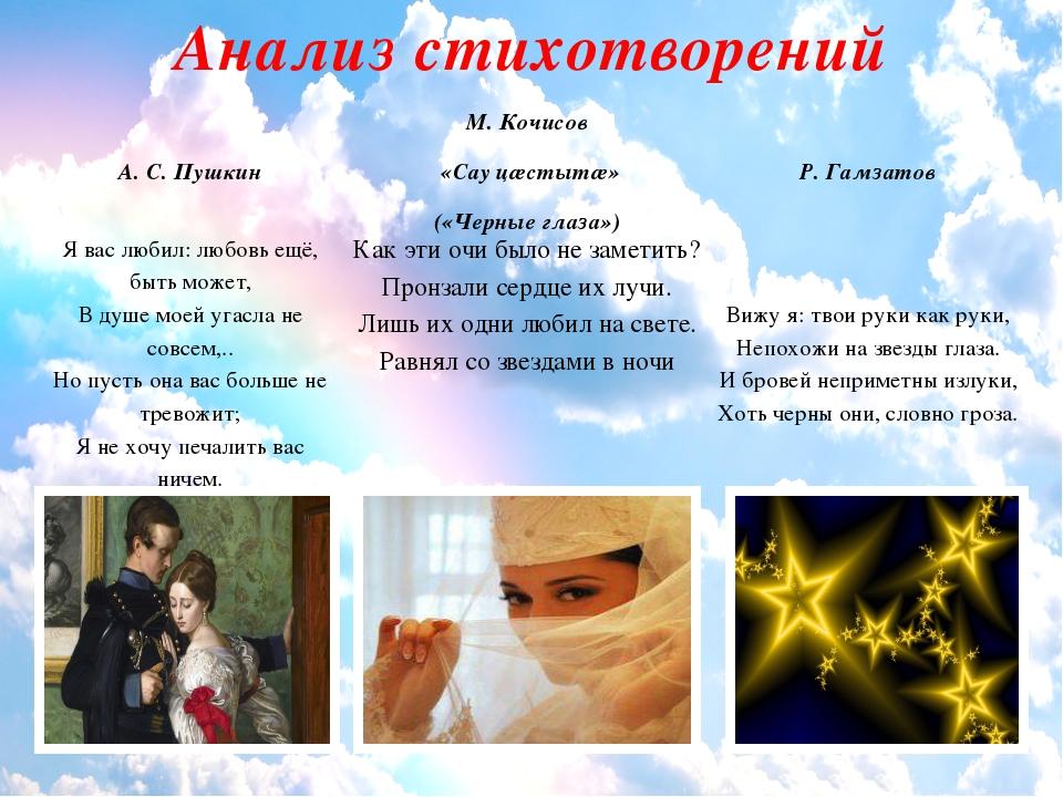 Анализ стихотворений А. С. Пушкин М.Кочисов «Сауцæстытæ» («Черные глаза») Р....