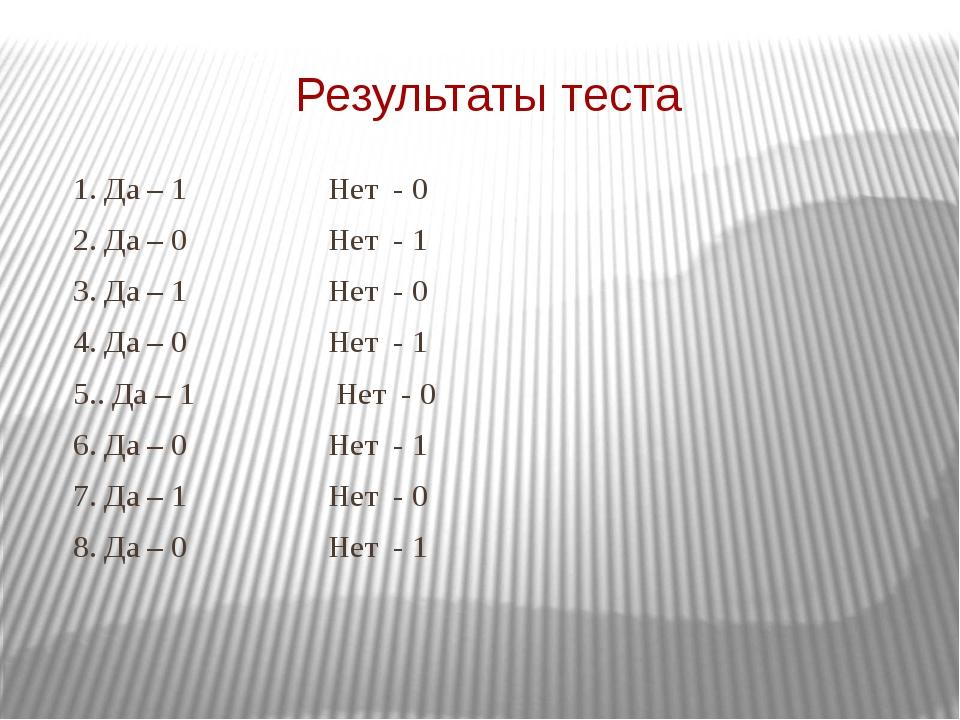 Результаты теста 1. Да – 1 Нет - 0 2. Да – 0 Нет - 1 3. Да – 1 Нет - 0 4. Да...