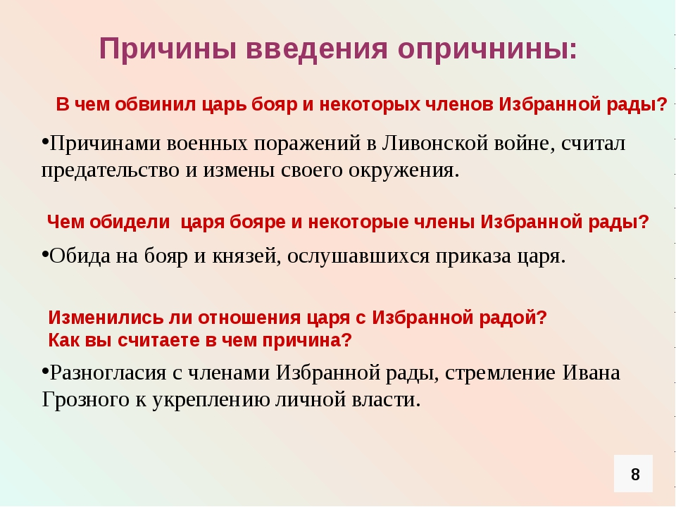 Причины введения опричнины: Причинами военных поражений в Ливонской войне, сч...