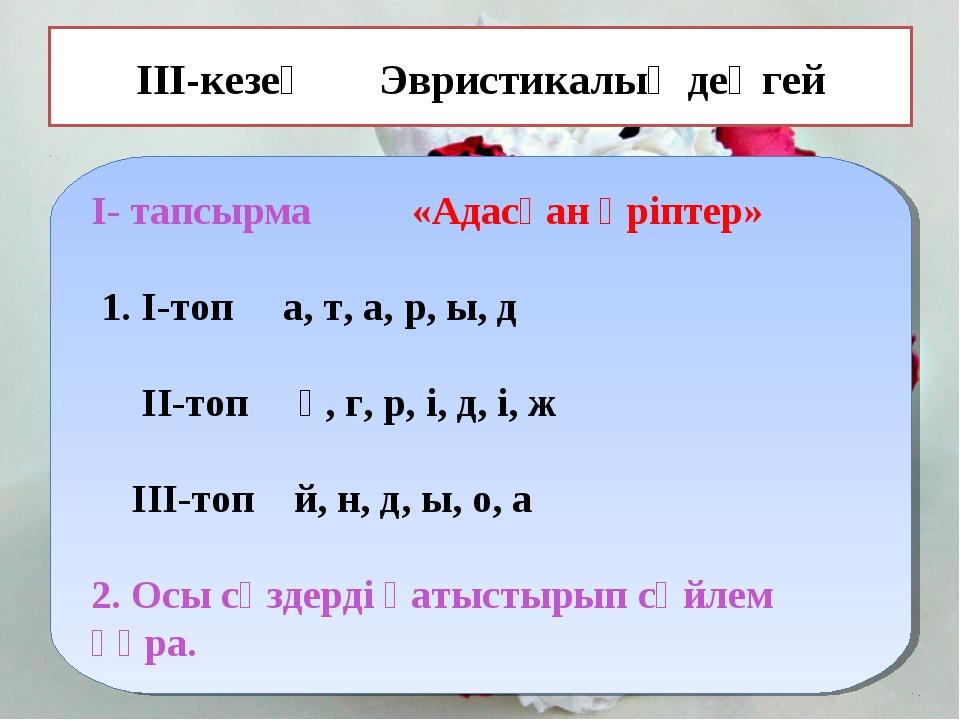 ІІІ-кезең Эвристикалық деңгей І- тапсырма «Адасқан әріптер» 1. І-топ а, т, а,...