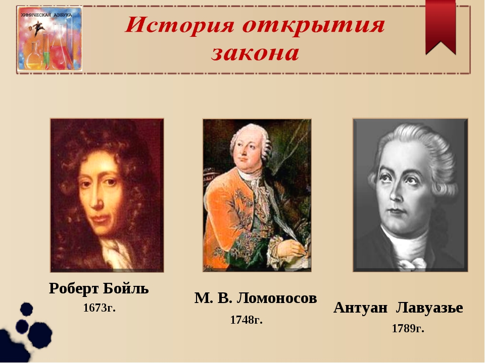 1789г. Роберт Бойль 1673г. 1748г. М. В. Ломоносов Антуан Лавуазье