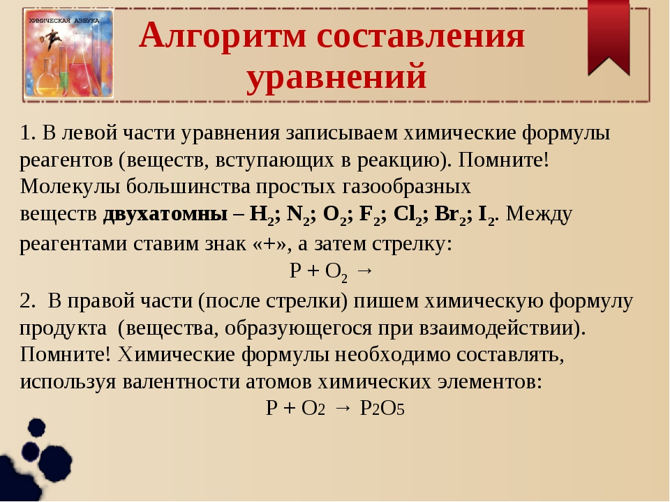 Алгоритм составления уравнений 1. В левой части уравнения записываем химическ...
