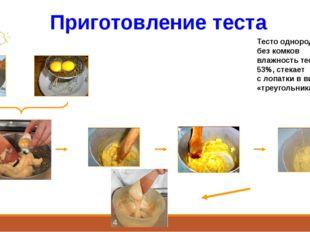 Приготовление теста Тесто однородное, без комков влажность теста – 53%, стека