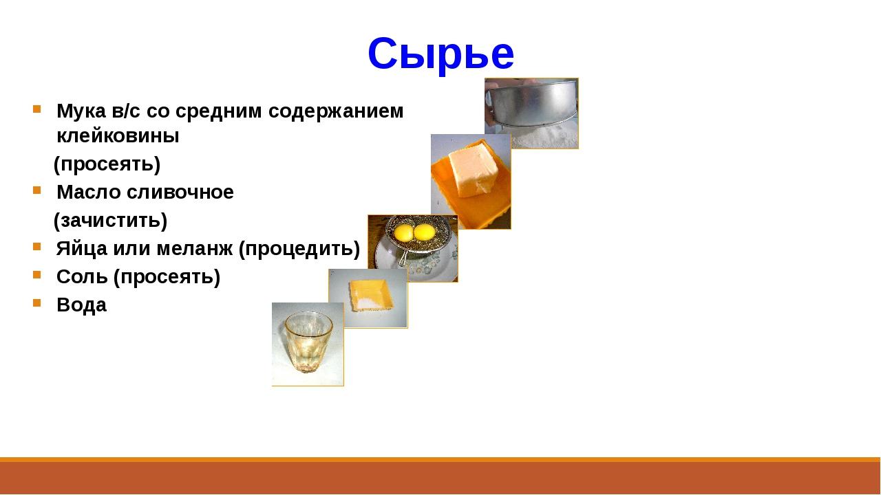 Сырье Мука в/с со средним содержанием клейковины (просеять) Масло сливочное (...