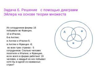 Задача 6. Решение с помощью диаграмм Эйлера на основе теории множеств Из сотр
