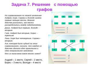 Задача 7. Решение с помощью графов На соревнованиях по легкой атлетике Андрей