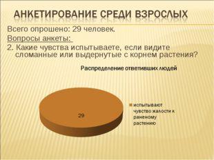 Всего опрошено: 29 человек. Вопросы анкеты: 2. Какие чувства испытываете, есл