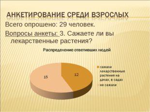 Всего опрошено: 29 человек. Вопросы анкеты: 3. Сажаете ли вы лекарственные ра