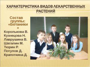 Состав группы: «Ботаники» Королькова В. Кузнецова Н. Лаврушина В. Шаталин М.