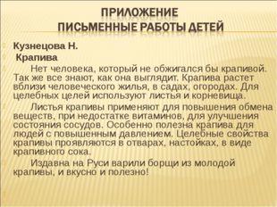 Кузнецова Н. Крапива Нет человека, который не обжигался бы крапивой. Так ж
