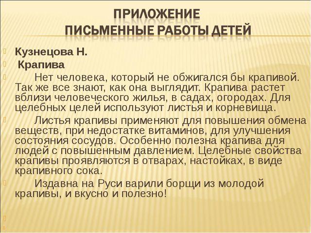 Кузнецова Н. Крапива Нет человека, который не обжигался бы крапивой. Так ж...