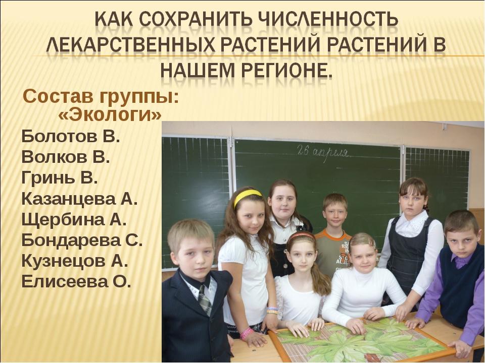 Состав группы: «Экологи» Болотов В. Волков В. Гринь В. Казанцева А. Щербина А...