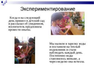 Экспериментирование Когда я на следующий день пришел в детский сад и рассказа