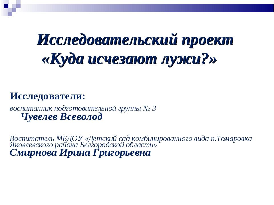 Исследователи: воспитанник подготовительной группы № 3 Чувелев Всеволод Воспи...