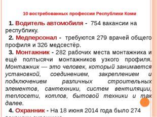 10 востребованных профессии Республики Коми 1. Водитель автомобиля - 754 вака