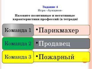 Задание 4 Игра «Аукцион» Назовите позитивные и негативные характеристики про
