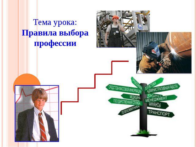Тема урока: Правила выбора профессии