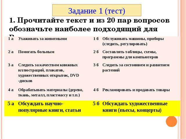 1. Прочитайте текст и из 20 пар вопросов обозначьте наиболее подходящий для В...