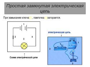 Простая замкнутая электрическая цепь При замыкании ключа(2), лампочка(3)загор