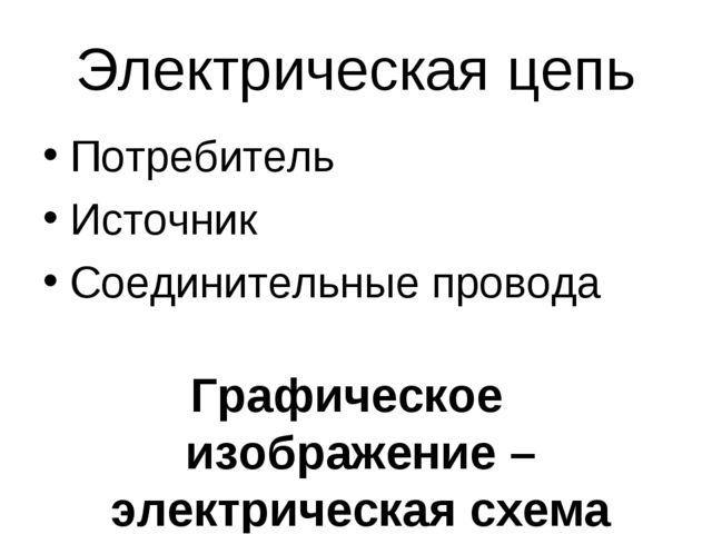 Электрическая цепь Потребитель Источник Соединительные провода Графическое из...