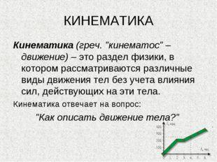 """* КИНЕМАТИКА Кинематика (греч. """"кинематос"""" – движение) – это раздел физики, в"""