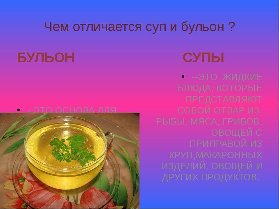 Чем отличается суп и бульон ? БУЛЬОН - ЭТО ОСНОВА ДЛЯ СУПА; ОТВАР ИЗ МЯСА, РЫ...