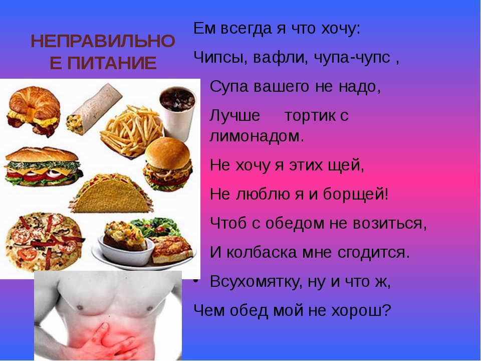НЕПРАВИЛЬНОЕ ПИТАНИЕ Ем всегда я что хочу: Чипсы, вафли, чупа-чупс , Супа ваш...