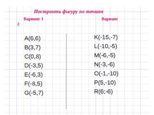 Построить фигуру по точкам Вариант 1 Вариант 2 А(6,6) В(3,7) С(0,8) D(-3,5)