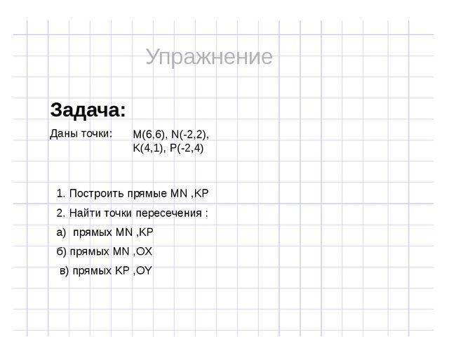 Задача: Даны точки: M(6,6), N(-2,2), K(4,1), P(-2,4) 1. Построить прямые MN...